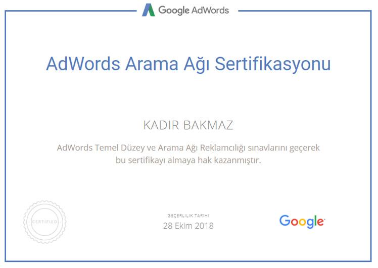 adwords arama ağı reklam sertifikası