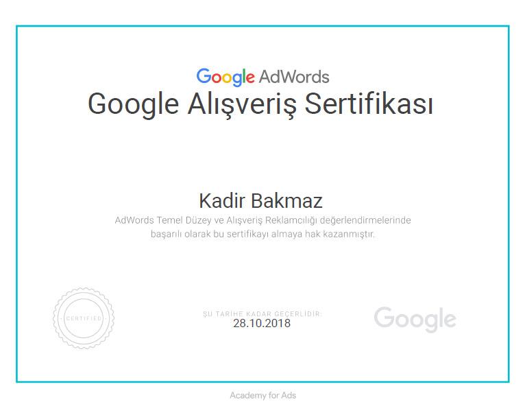 google alışveriş sertifikası