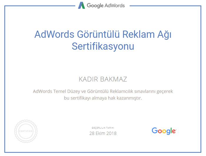 görüntülü reklam ağı sertifikası